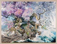 Manabu Ikeda, Rebirth, 2016. Pen & ink, 13 x 10' (300 x 100cm). Courtesy the Chazen Museum of Art.