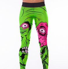 e9362bff87a94 Sublimated print zombie face seamless fitness Gothic leggings. Both trendy  and functional. You can