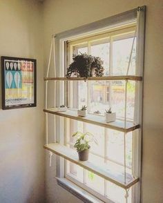 CUSTOM / Light Pine / Rope / Hardware / Minimilist / Hanging Shelf Unit - Custom wooden shelves made to order. Indoor gardens, succulent displays, the spread of plants, cutt - Playroom Organization, Art Studio Organization, Storage Organization, Home And Deco, Decor Room, Wall Decor, Home Projects, Weekend Projects, Home Decor Ideas