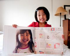 mini masterpieces photobook by liz at paislee press - mix photos and artwork for such a cool kiddie keepsake!