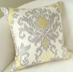 Yellow Gray Pillow Cover Ikat Pillow Decorative Throw Pillow Accent Damask Pillow Cushion 18 or 20 Inches