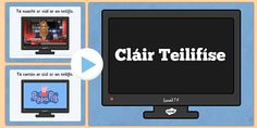 Pupils can develop their Irish oral language skills on the topic of television programmes using this fun quiz. Television Program, Activity Sheets, Word Problems, Programming, Worksheets, Real Life, Irish, Presentation, Language