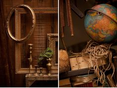 Love everything about these pictures: the old globe, the brass candlesticks, the empty picture frames....