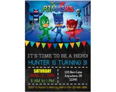 PJ Masks birthday party invitations available from PartyOnInvites Etsy store.