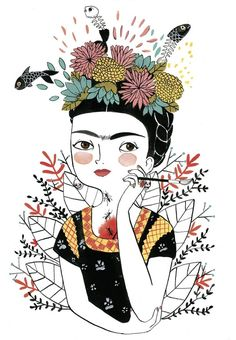 Ideas For Wall Paper Frida Kahlo Image Art And Illustration, Illustrations Posters, Maria Hesse, Kahlo Paintings, Frida Art, Posca Art, Diego Rivera, Grafik Design, Folk Art
