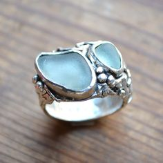 www.artinani.com Art clay silver, genuine sea glass ring