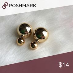NEW!  Double-sided Ball Earrings ~ Gold NEW!  Double-sided Ball Earrings ~ So versatile & trendy! Bundle & Save 2 pair @ $20 ~ Just let me know which ones! Jewelry Earrings