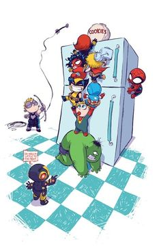 An Avengers Babies Team Building Exercise Fantastic Four Marvel, Hulk Avengers, Avengers Movies, Skottie Young, Marvel Now, Disney Characters, Fictional Characters, Thor, Cute Drawings