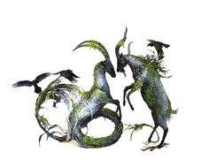of wit and wilderness, 2016 original sculpture by Ellen Jewett.  Artwork contains depictions of rainforest moss, ravens, corvids, caprines, goat, Capricorn, and horn imagery