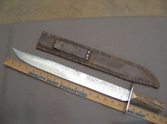 Vintage c.1987 Lou Hegedus hand-forged Confederate Bowie Knife,very unusual #Hegedus
