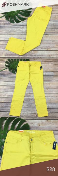 Old Navy bright yellow Rockstar skinny jeans Old Navy Rockstar yellow skinny jeans, size 14. They are new with tags and are free from any rips or stains. They measure about 35 inches around the waist and the inseam is about 29 inches. The rise is about 9 inches. Old Navy Jeans Skinny