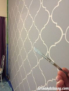 How to Paint a Moroccan Stencil Accent Wall - Decoration for All Boys Bedroom Themes, Moroccan Stencil, Stencil Diy, Stenciling, Diy Home Decor On A Budget, Wall Treatments, Luxurious Bedrooms, Decoration, Home Art