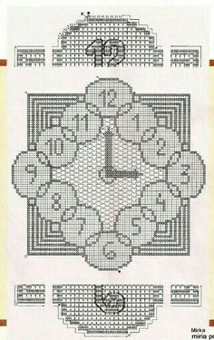 Filet Crochet, Crochet Chart, Crochet Doilies, Crochet Square Patterns, Cross Stitch Patterns, Crochet Decoration, Expo, Beautiful Crochet, Kind Mode