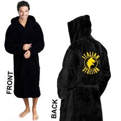 7967ddde5c Boxing Embroidery Logo on Black Hooded Bathrobe