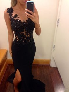 2015 mermaid black prom dress with lace beaded chiffon slit prom gown,Gorgeous prom photo from Loving this black lace prom dress Mermaid Prom Dresses Lace, Black Prom Dresses, Lace Evening Dresses, Cheap Prom Dresses, Simple Dresses, Homecoming Dresses, Evening Gowns, Dress Black, Chiffon Dresses