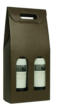 7 in.x 3-1/2 in.x 15-3/4 in. - Italian Specialty Box - Pelle Marrone/Dark Brown - 2 Bottle Carrier: Wholesale Gift Packaging Supplies - Bags, Gift Wrap, Boxes & More - New Easy Ordering - MAC Paper Supply