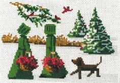"""""""Christmas Delivery"""" is the title of this cross stitch pattern from designer Diane Grabner featuring two Amish girls gathering holly greener..."""