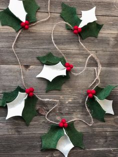Items similar to 5 Foot Christmas Felt Holly Garland: Christmas Decor Diy Christmas Garland, Handmade Christmas Decorations, Felt Christmas Ornaments, Christmas Time, Diy Ornaments, Beaded Ornaments, Glass Ornaments, Homemade Xmas Decorations, Felt Garland