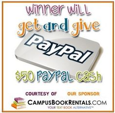 Enter to WIN $100 in PayPal Cash from CampusBookRentals.com #PayItForward #MissionGiveaway Ends 7/12