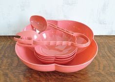 Vintage Pink Lustro Ware Serving Bowl Set with Tongs by HedgehogAndOwl on Etsy https://www.etsy.com/listing/228698554/vintage-pink-lustro-ware-serving-bowl