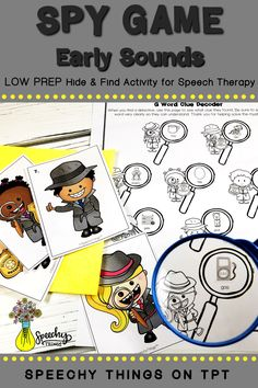 "Spy Game Early Sounds is part of a series of LOW PREP speech therapy activities that is designed to incorporate gross motor breaks. All you have to do is hide the 10 little detectives and your students will find them and help them ""decode"" their clues. Each detective corresponds to one target word. It's easy to play and so ENGAGING! Find it today on TpT! #speechtherapy #tpt #slp"