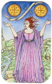 My #TarotJoy 2Pentacles- Yes, I am busy almost all the time & it's hectic. With great love comes great responsibility & I have a lotta love!    Juggle, juggle, juggle; I got this!    Medieval Enchantment: The Nigel Jackson Tarot, published by Llewellyn.    https://twitter.com/78Whispers    https://www.facebook.com/78Whispers    http://78whispers.blogspot.com/