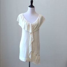 """DELICATE Tibi New York Ivory Color Sweater Size M Tibi New York brand sweater in an ivory/cream color size medium. 62% Linen & 38% Silk. Pretty decorative buttons (10 total) throughout front. Great flowy feeling in front.   About 33"""" bust & 32"""" waist & 27"""" long from back center starting at top down to hem  Beautiful sweater top that works with skinny jeans or jeggings.   I can share more photos or answer your questions.   Offers welcomed!   Thanks for browsing! Tibi Sweaters"""