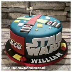 Lego Star Wars themed birthday cake www.kitchenwitchcakes.co.uk