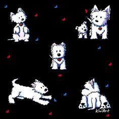 Westie Block Party fabric by KiniArt on Spoonflower - custom fabric.  © KiniArt - Kim Niles. All Rights Reserved