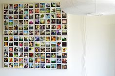 mount instagrams to four canvases with hot glue, so you can easily switch out prints over time