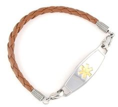 Brown Braided Leather Medical Bracelets - Teen Leather Medical Bracelets - Teens   N-Style ID