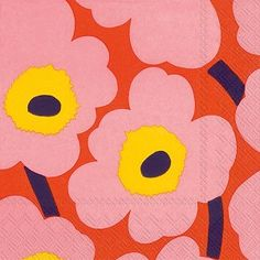 Unikko rose orange Cocktail Napkins 240 ct