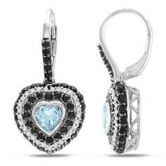 I've tagged a product on Zales: Blue Topaz and Black Spinel with 1/4 CT. T.W. Diamond Heart Drop Earrings in Sterling Silver