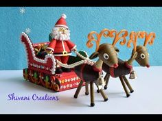Quilled Santa Claus Sleigh Cart/ 3D Quilled Christmas Show Piece - YouTube