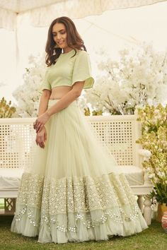 Choosing a light #lehenga for engagement is definitely the right choice a bride can make. Check out these brands across #India for an #engagement outfit that's absolutely you!