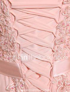 Corte en A Joya Hasta el Suelo Georgette Fiesta de baile Evento Formal Vestido con Cuentas Apliques Detalles con Perlas por CHQY 2018 - €59.18