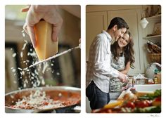 What a great idea! An engagement photo shoot in a kitchen!