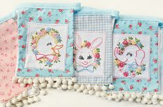 Hand embroidered baby banner / bunting * DIY inspiration * Bunnies, Ducks & Elephants * Great use for vintage linens * Vintage inspired nursery decor! Cross Stitch Embroidery, Embroidery Patterns, Hand Embroidery, Machine Embroidery, Vintage Embroidery, Fabric Bunting, Bunting Garland, Bunting Ideas, Baby Bunting