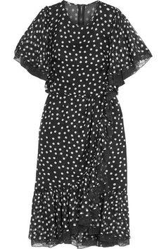 Dolce & Gabbana - Lace-trimmed Polka-dot Silk-blend Chiffon Dress - Black - IT50