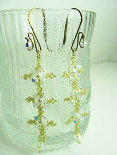 Beadwork Earrings Swarovski Pearls AB Crystals Long by BohemianIce, $24.00