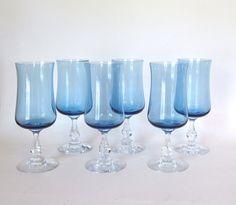 Vintage Fostoria Distinction LIght Blue Water Goblets Wine Glasses Set of 6 - by HouseofLucien, $70.00