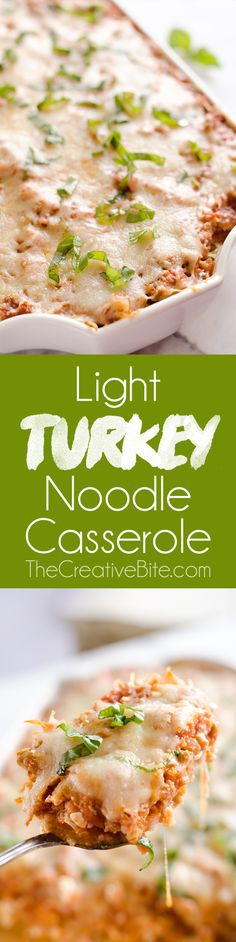 Light Turkey Noodle Casserole is a hearty and healthy dinner idea the whole family will love! All of the traditional flavors of noodle casserole are lightened up with whole wheat spaghetti, zucchini noodles and Jennie-O lean ground turkey. #MakeTheSwitch #Turkey #Dinner