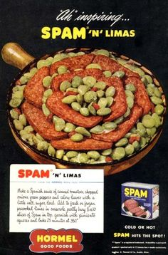 What's better than Spam? What's better than lima beans? Why it's Spam and lima beans together. Spam Recipes, Retro Recipes, Old Recipes, Vintage Recipes, Cooking Recipes, Family Recipes, Cooking Stuff, What's Cooking, Gourmet