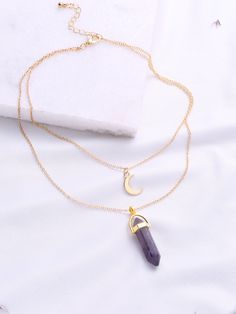 Purple Pendant Double Layered Necklace -SheIn(Sheinside)