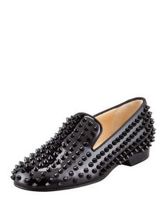 Rolling Spikes Patent Smoking Slipper, Black by Christian Louboutin at Neiman Marcus.