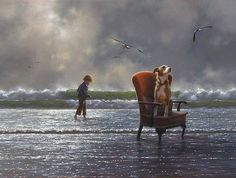 Pretender to the throne by Jimmy Lawlor - PRINT - The Keeling Gallery Double Exposition, Jimmy Lawlor, Art Through The Ages, Irish Art, Artist Portfolio, Japanese Artists, Fantastic Art, Surreal Art, Beach Art