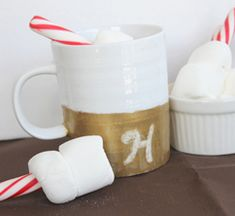Gold Glitter Dipped Coffee Mug & Dark Hot Chocolate Recipe By The Country Chic Cottage