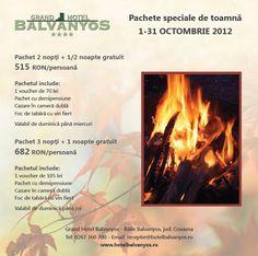 Pachete speciale pentru luna Octombrie la Grand Hotel Balvanyos