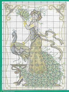 0 point de croix femme années folles et paon - cross stitch vintage lady and peacock