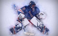 Download wallpapers Henrik Lundqvist, 4k, artwork, hockey stars, New York Rangers, Lundqvist, NHL, hockey, drawing Henrik Lundqvist